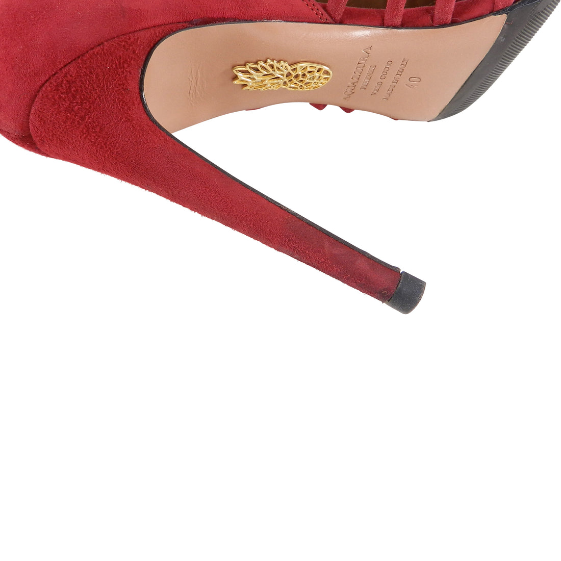Aquazzura Red Suede Cut out Ankle Shoe / Heels - 40