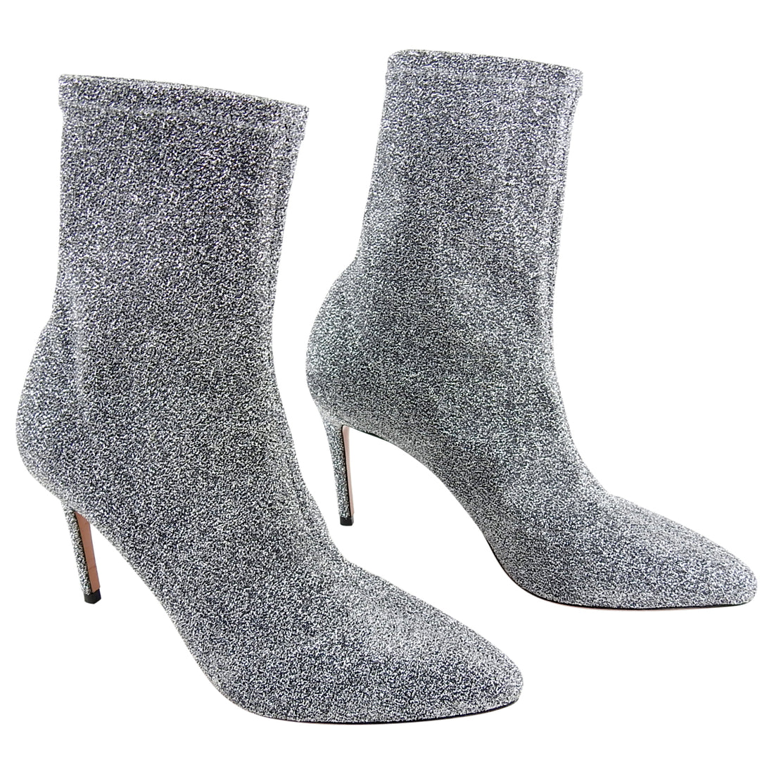 Aquazzura Silver Lurex Stretch Ankle Boots - 37