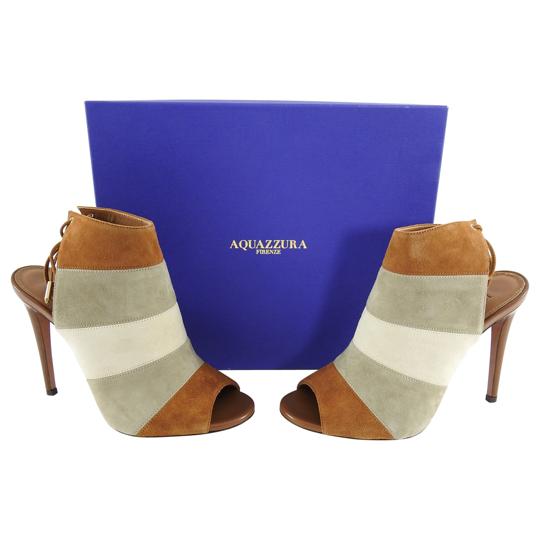 Aquazzura Rainbow 105 Color Block Stripe Suede Heels - 37