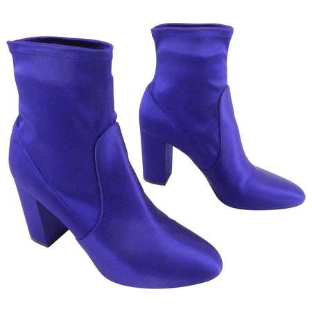 "Aquazzura Indigo Blue Stretch Satin ""So Me"" Ankle Boots - 40"