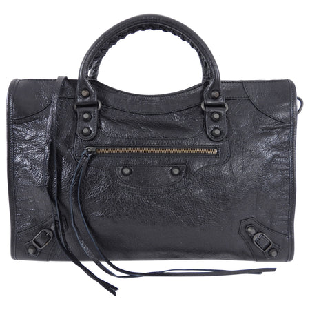 Balenciaga Black Lambskin Classic City Medium Bag