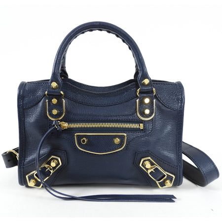 Balenciaga Mini Navy and Gold Metallic Edge Bag
