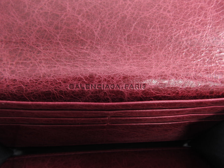 Balenciaga Classic City Dark Raspberry Leather Wallet