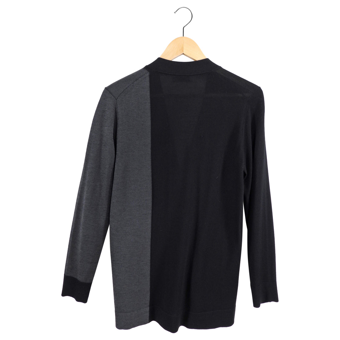 Balenciaga Black and Grey Color Block Knit Cardigan - FR38 / 6