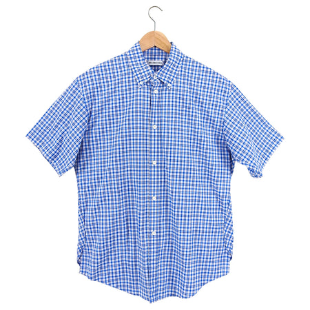Balenciaga Blue Check Short Sleeve Oversized Button Down Shirt - S