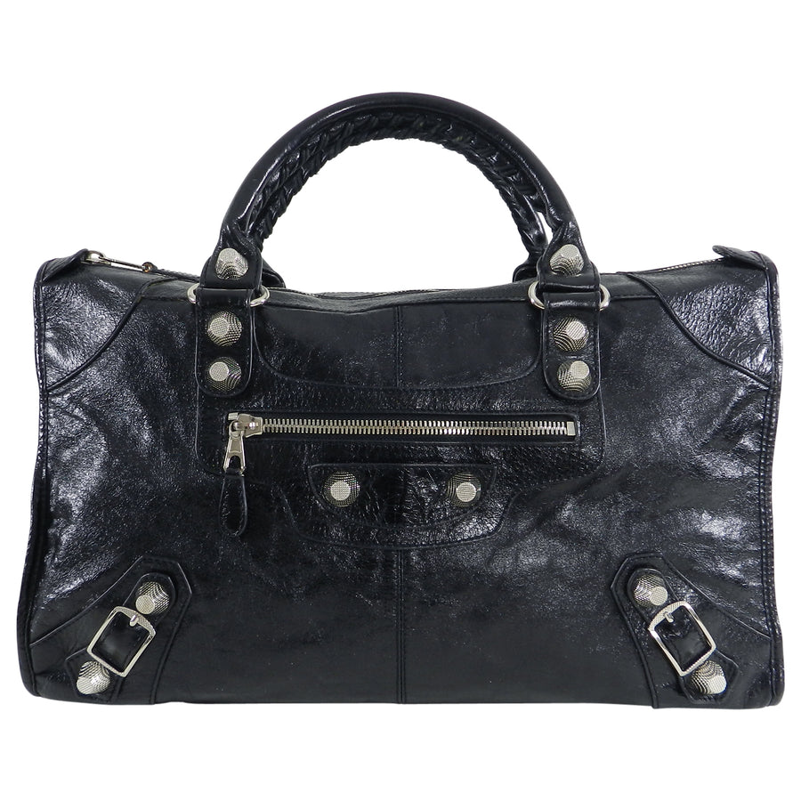 Balenciaga Black City Giant 21 Work Bag Silver Hardware