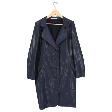 Balenciaga Midnight Navy Sheen Coat - 42 / 8