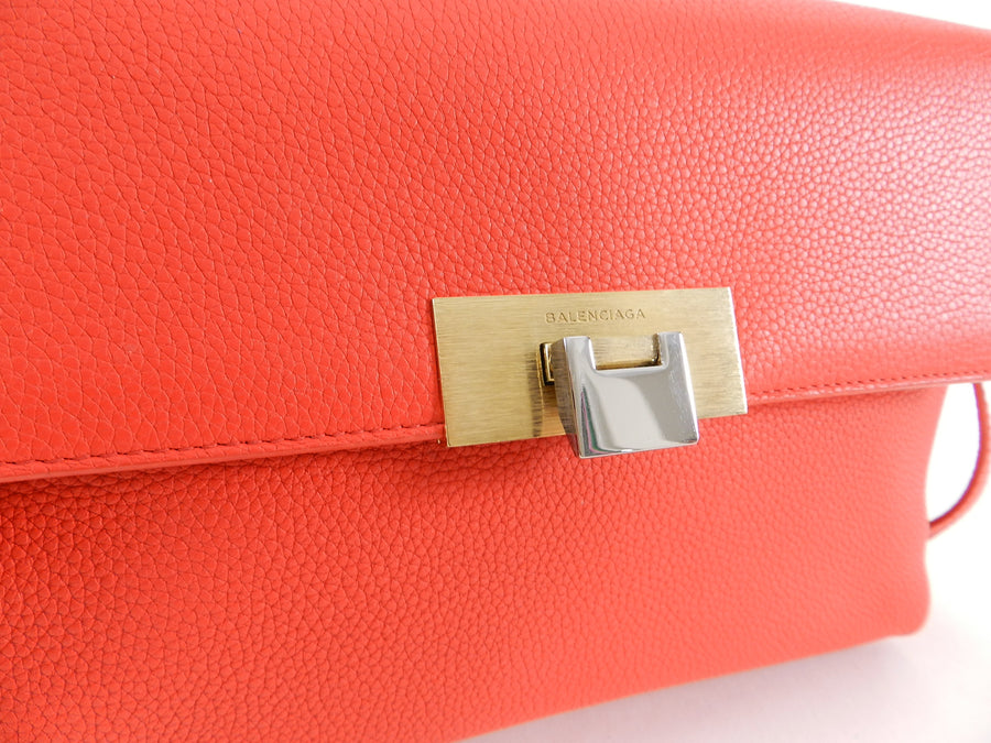 Balenciaga Le Dix Hot Coral Soft Courrier Leather Crossbody Bag
