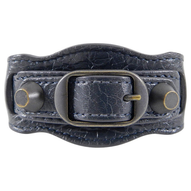 Balenciaga Dark Charcoal Grey Leather Cuff Bracelet