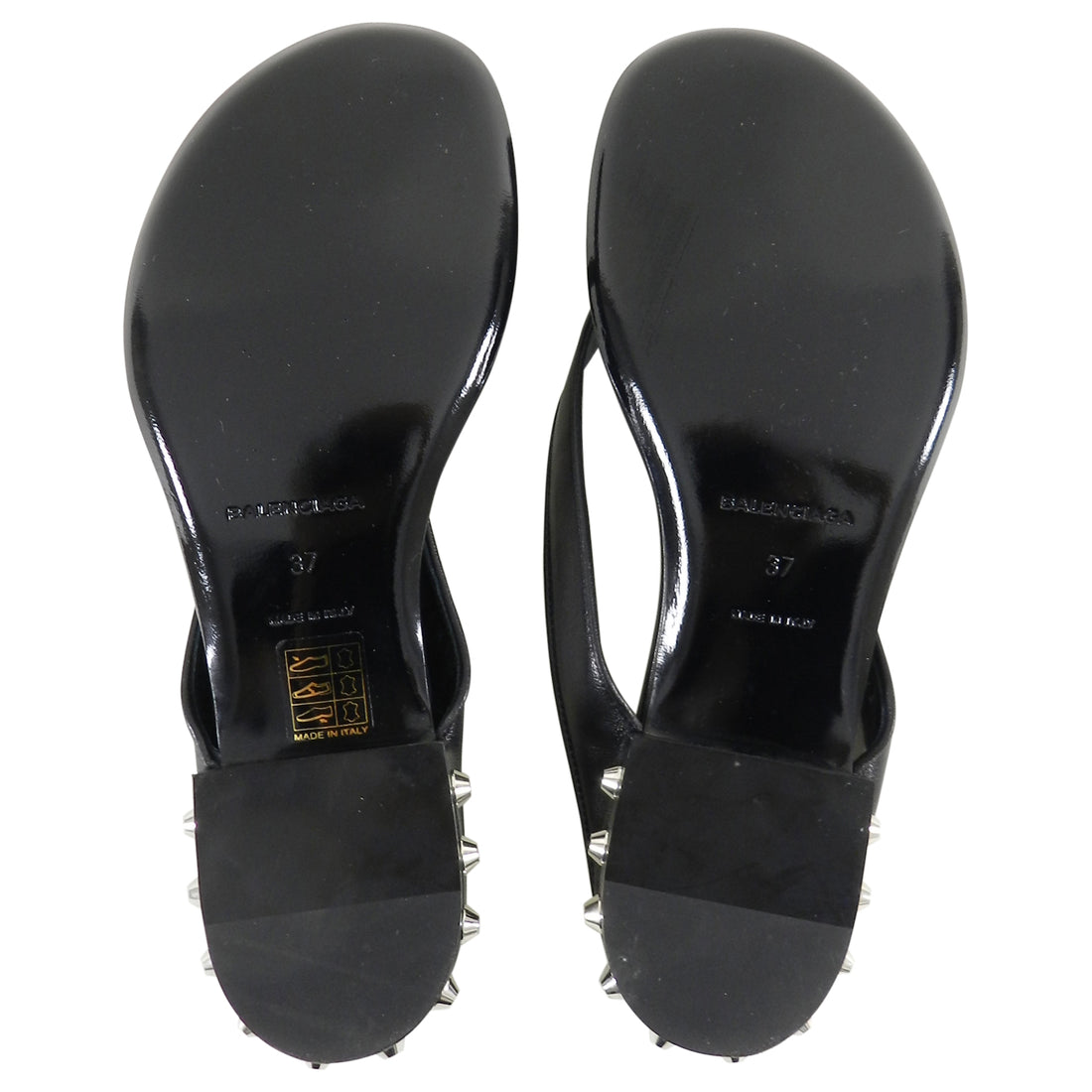 Balenciaga Black Leather Thong Sandals With Silver Stud Heels - 37