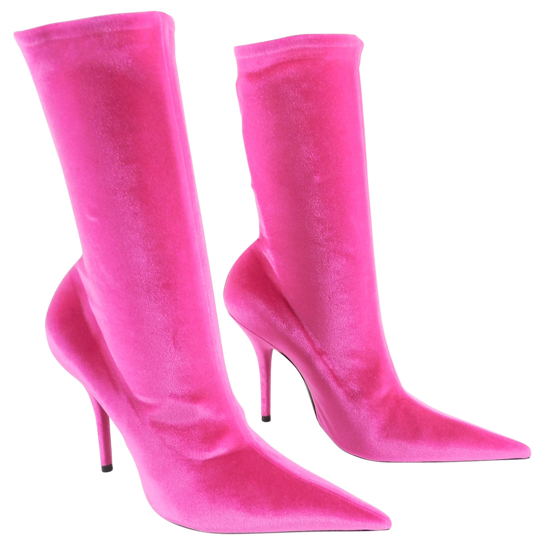 Balenciaga Hot Pink Stretch Velvet Knife Ankle Boots - 40