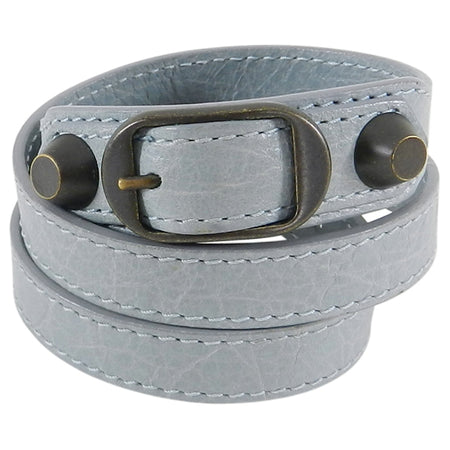 Balenciaga Light Ice Blue Giant Stud Triple Wrap Leather Bracelet