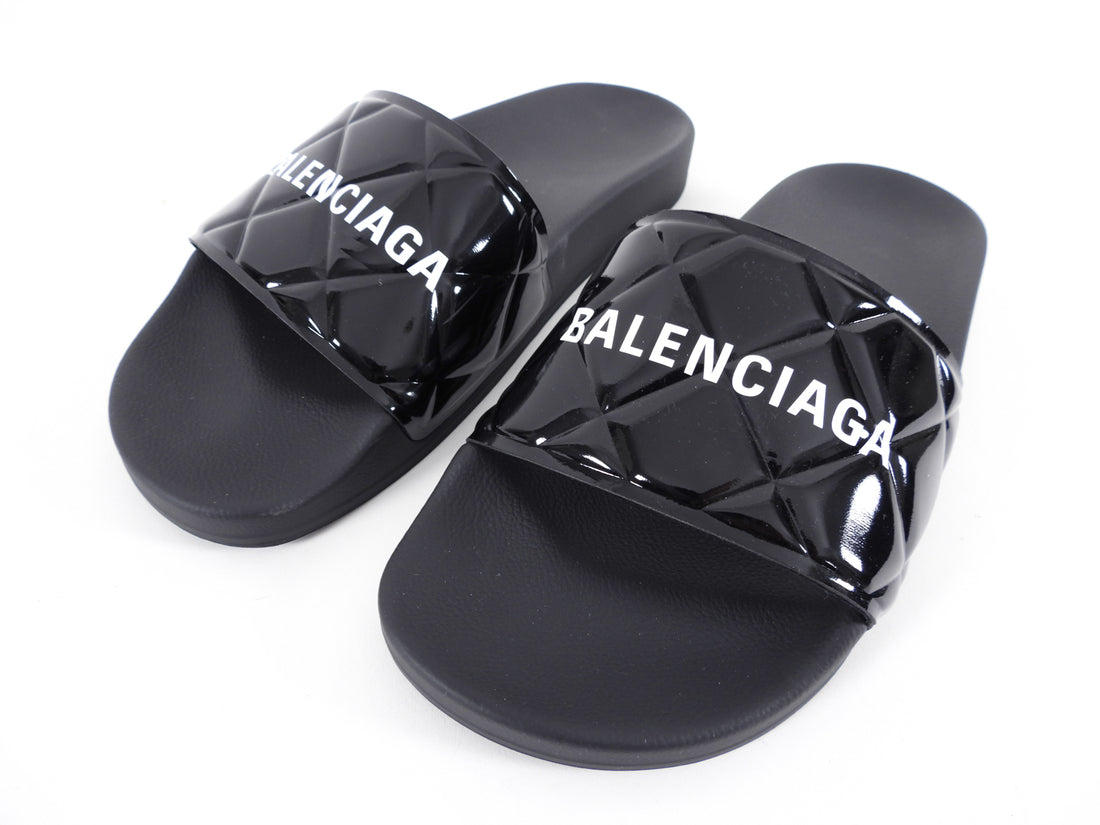 Balenciaga Black Patent Logo Quilt Pool Slide Sandals - 37.5 / 7