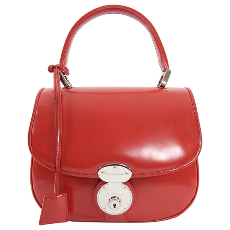 Balenciaga Red Glossy Leather Push Lock Hand Bag