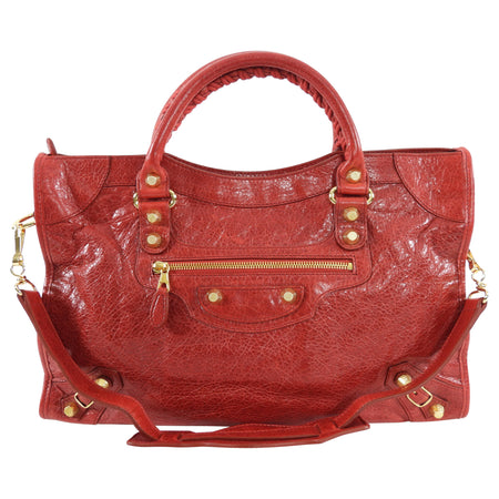 Balenciaga Classic City Medium Lambskin Red Bag GHW