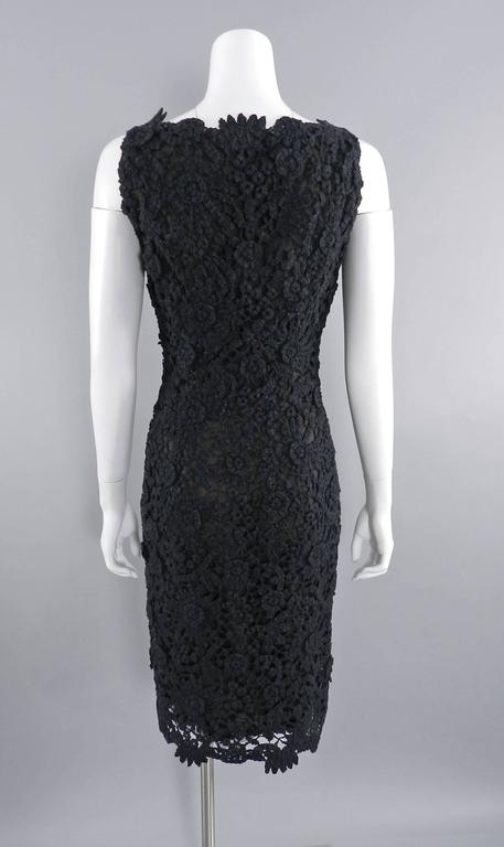 Pierre Balmain Haute Couture by Oscar de La Renta Black Lace Dress 1990's