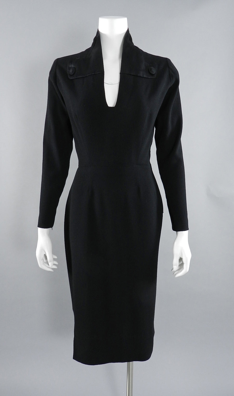 Pierre Balmain 1950's Haute Couture Black Wool Dress