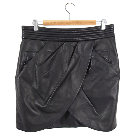 Balmain Black Leather Wrap Short Mini Skirt - 12