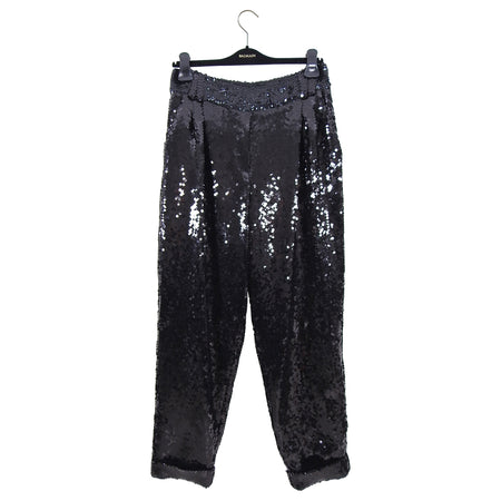 Balmain Fall 2018 Runway Black Sequin Relaxed Trouser Pants - FR38 / 6