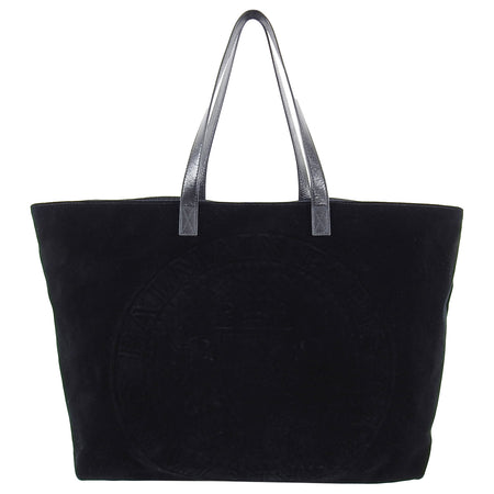 Balmain Paris Black Velvet and Leather Logo Shopper Tote Bag