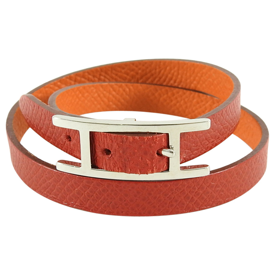 Hermes Red and Orange Leather Behapi Double Tour Bracelet in Box