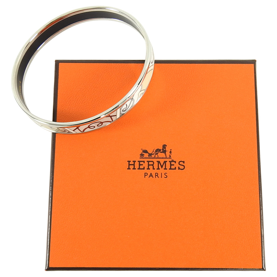 Hermes Narrow Beige Enamel Silver Bangle Bracelet