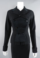 Pierre Balmain 1950's Black Silk Satin and Wool Skirt Suit
