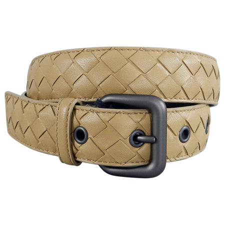 Bottega Veneta Beige Intrecciato Leather Woven Belt