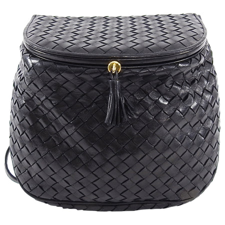 Bottega Veneta Vintage Medium Intrecciato Leather Black Creel Bag