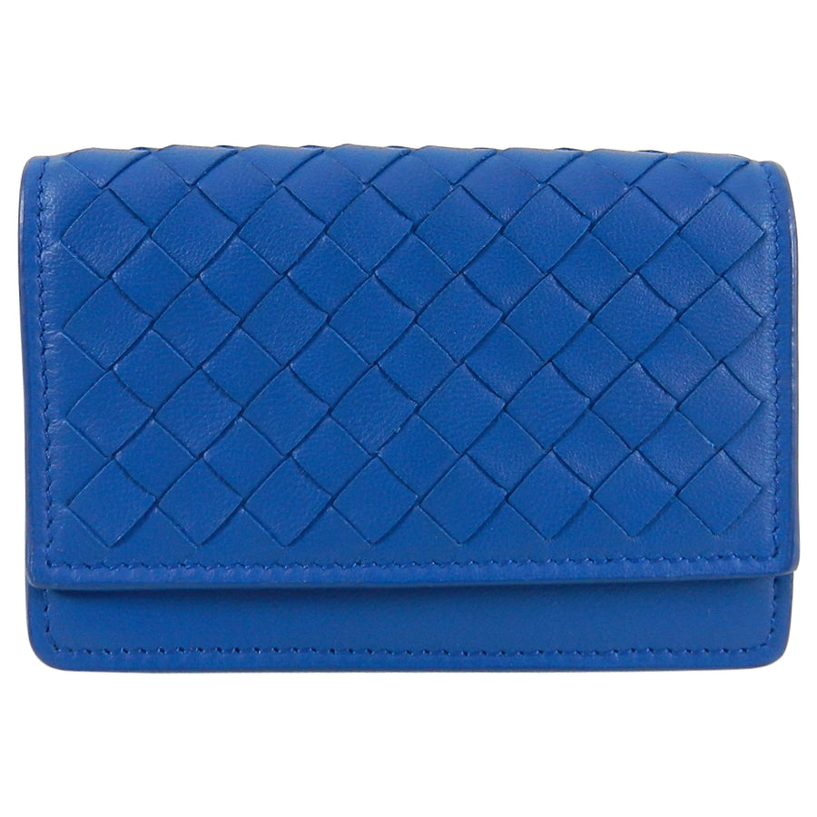 Bottega Veneta Blue Intrecciato Nappa Leather Snap Wallet / Card Case