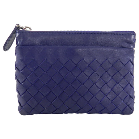 Bottega Veneta Blue Intrecciato Leather Zip Coin Pouch
