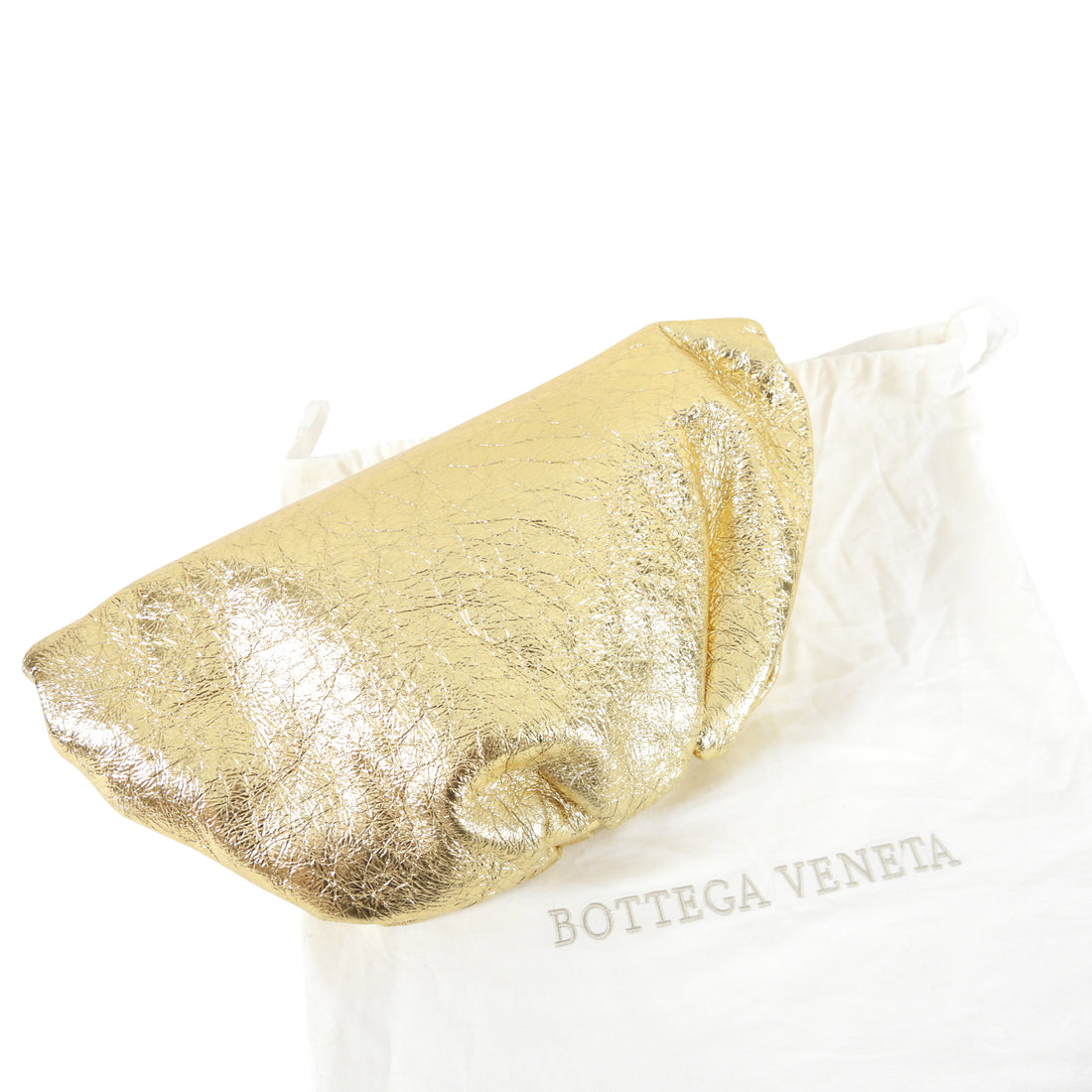 Bottega Veneta Gold Oro Wrinkle Large Leather The Pouch Clutch Bag