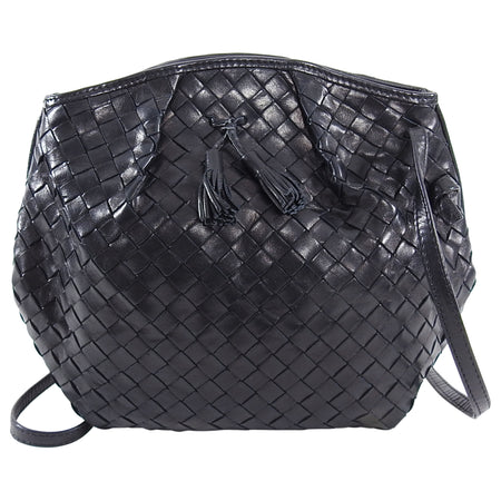 Bottega Veneta Vintage Black Intrecciato Leather Angular Crossbody Bag