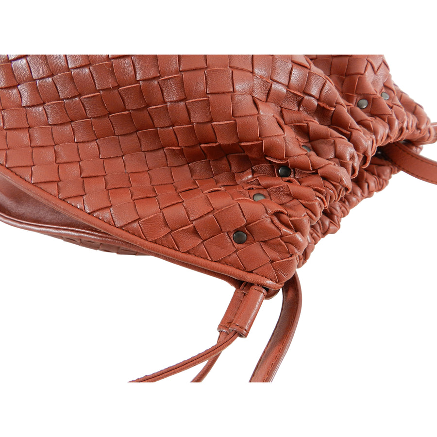 f5a8ecb9f4 Bottega Veneta Brick Red Intrecciato Leather Drawstring Bag – I MISS ...