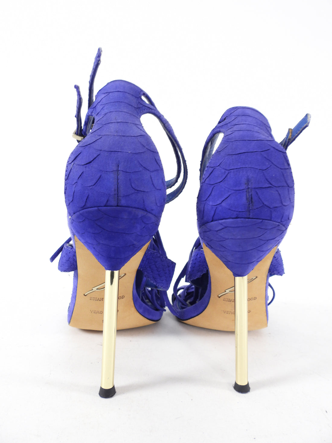 Brian Atwood Purple Blue Suede Fringe Sandals - USA 9.5