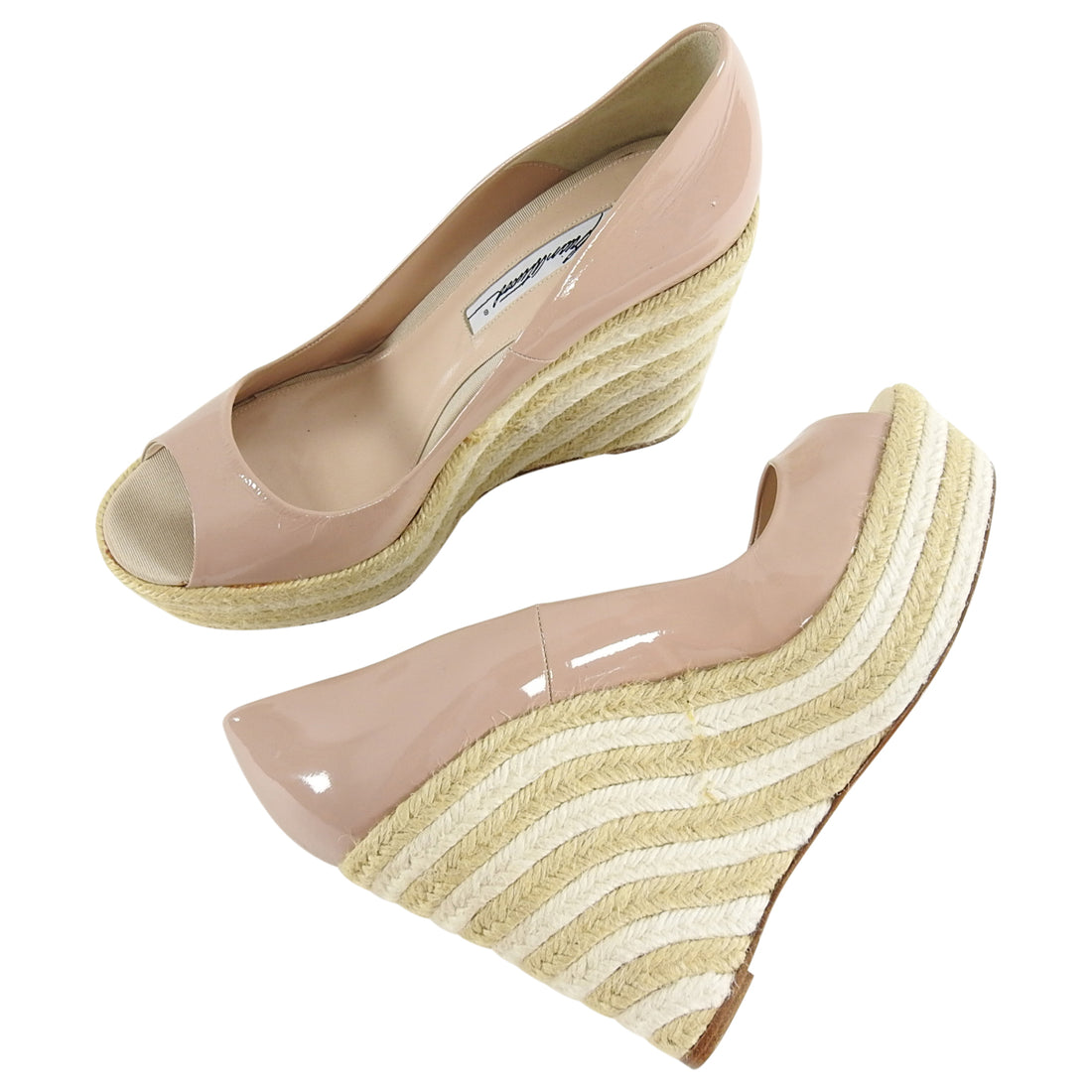 Brian Atwood Nude Patent Peep Toe Espadrille Wedge Shoes - 9.5