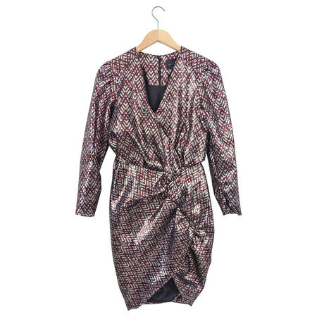 Birgitte Herskind Silver and Burgundy Brocade May Cocktail Dress - 6