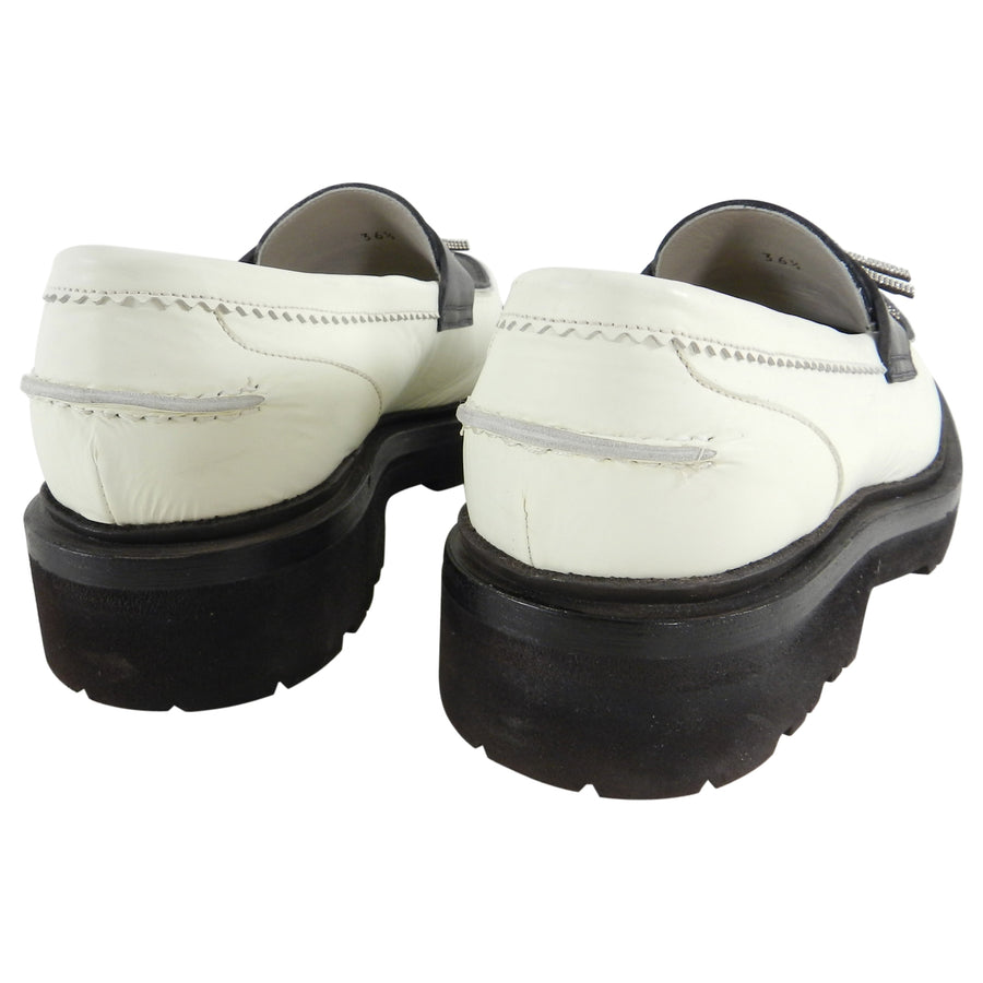 Brunello Cucinelli Ivory and Black Bead Tassel Loafers - 36.5