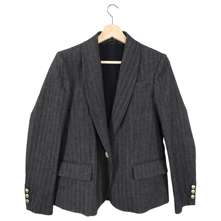Brunello Cucinelli Brown Herringbone Blazer Jacket