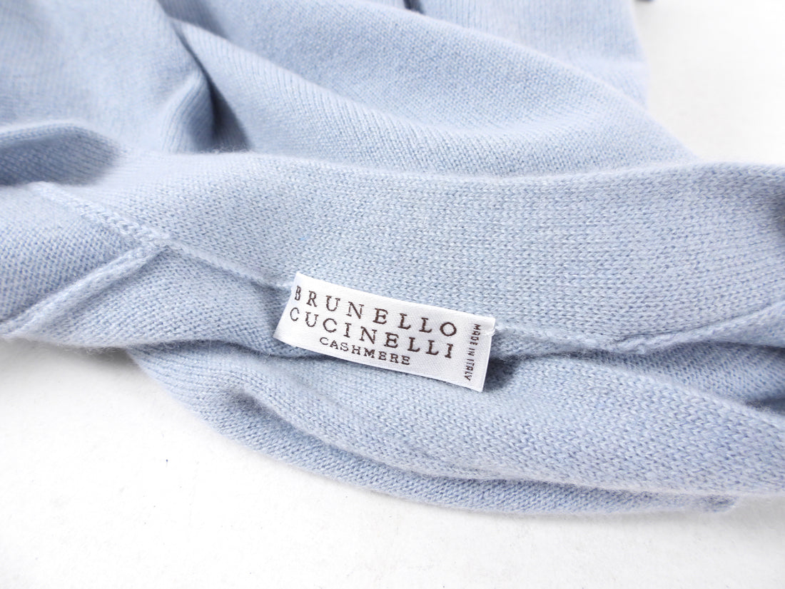 Brunello Cucinelli Light Blue Cashmere Cardigan Sweater - M