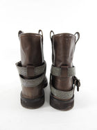 Brunello Cucinelli Brown Bead Combat Ankle Boots - 38