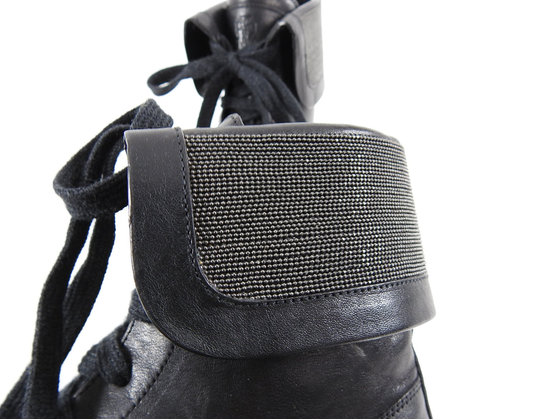 Brunello Cucinelli Black Leather Monili Bead Combat Ankle Boots - 37