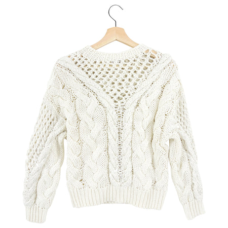 Brunello Cucinelli Ivory Cotton Cable Knit Sequin Sweater - S (USA 2/ 4)