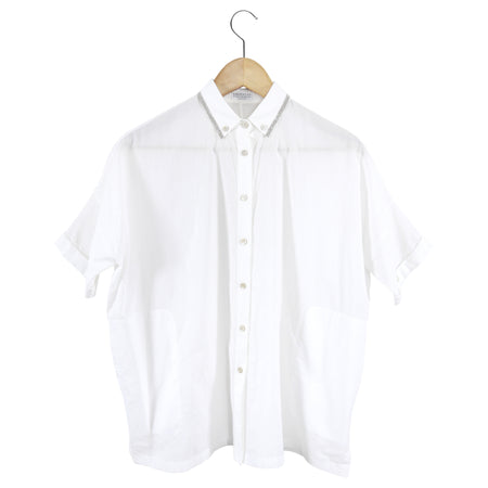 Brunello Cucinelli Monili Trim White Short Sleeve Shirt