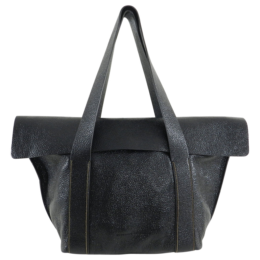 Brunello Cucinelli Black Glossy Tote Bag with Chain Detail