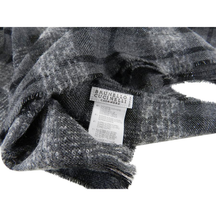 Brunello Cucinelli Charcoal Grey Check Large Rectangular Shawl Scarf