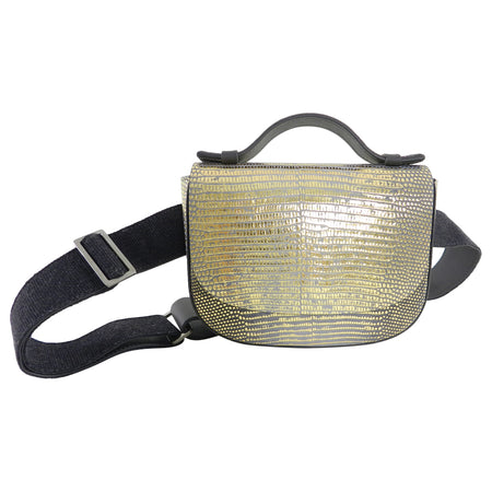 Brunello Cucinelli Gold Metallic Lizard Waist Belt Bag