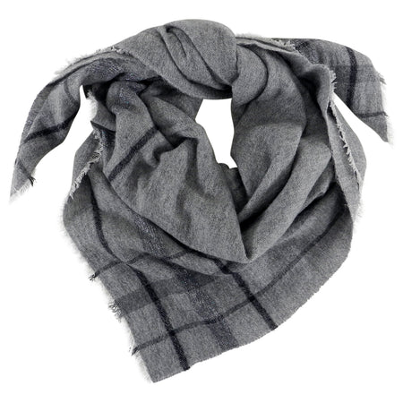 Brunello Cucinelli Grey Large Square Check Cashmere Shawl Wrap