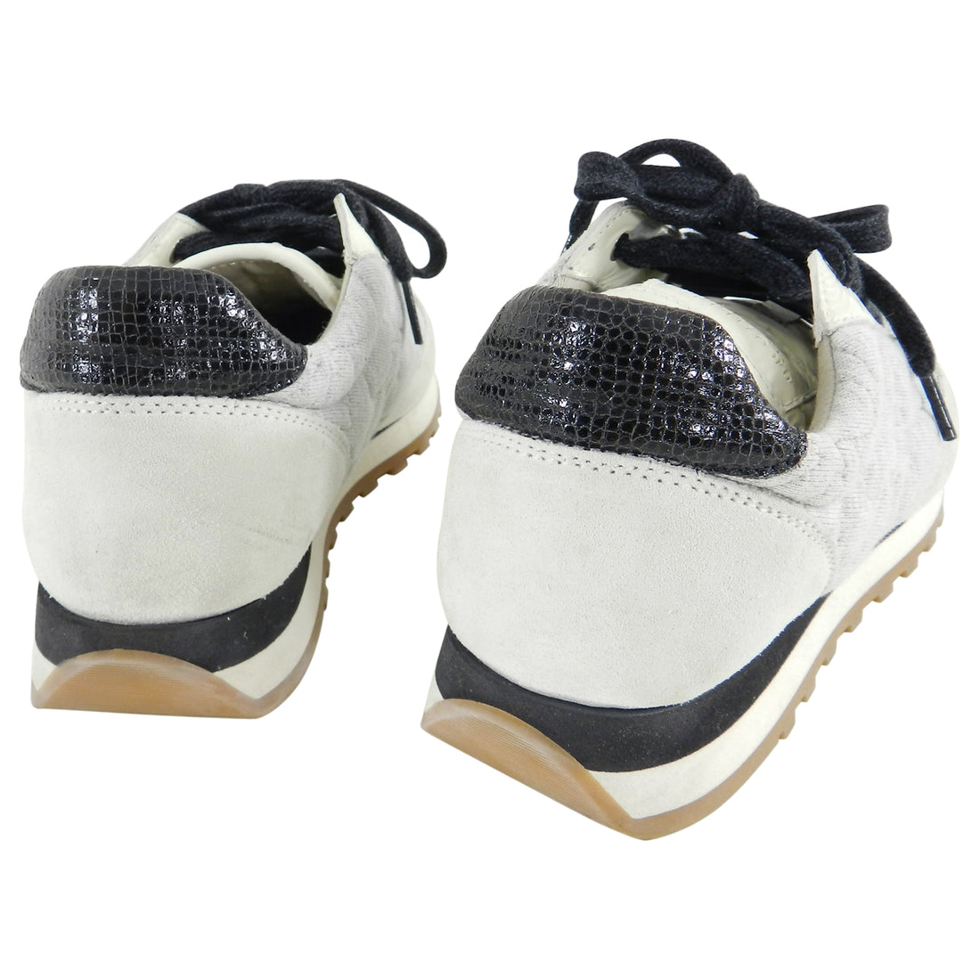 Brunello Cucinelli Light Grey and Ivory Beaded Multi Sneakers - 37
