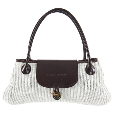 Brunello Cucinelli White Knit and Brown Leather Pochette Bag